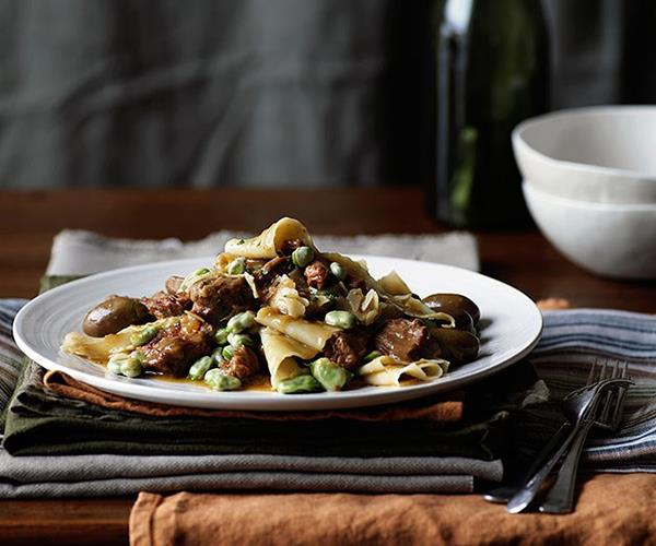 """**[Veal ragù with fresh pasta](https://www.gourmettraveller.com.au/recipes/chefs-recipes/veal-ragu-with-fresh-pasta-7143