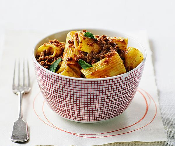 """**[Veal and pancetta ragù with rigatoni](https://www.gourmettraveller.com.au/recipes/browse-all/veal-and-pancetta-ragu-with-rigatoni-9623