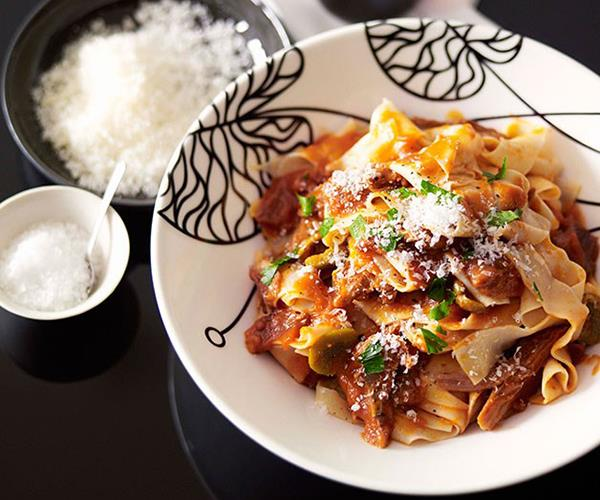 """**[Pappardelle with braised goat ragù](https://www.gourmettraveller.com.au/recipes/chefs-recipes/pappardelle-with-braised-goat-ragu-8875