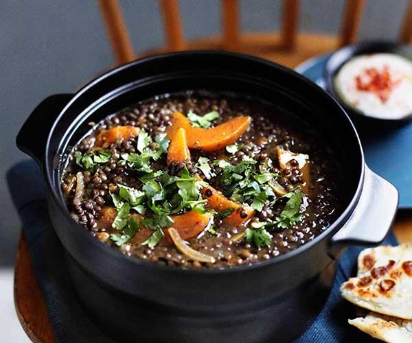 Green lentil soup with pumpkin and harissa