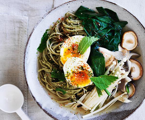 """**[Matcha noodles with miso broth and soft egg](http://www.gourmettraveller.com.au/recipes/browse-all/matcha-noodles-with-miso-broth-and-soft-egg-12764