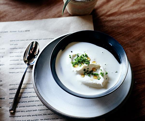 "**[Korean miso soup with oyster cream (doenjang guk)](https://www.gourmettraveller.com.au/recipes/chefs-recipes/korean-miso-soup-with-oyster-cream-doenjang-guk-8082|target=""_blank"")**"