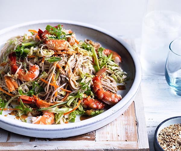 """**[Prawn, cabbage and soba noodle salad with sesame-miso dressing](http://www.gourmettraveller.com.au/recipes/fast-recipes/prawn-cabbage-and-soba-noodle-salad-13790