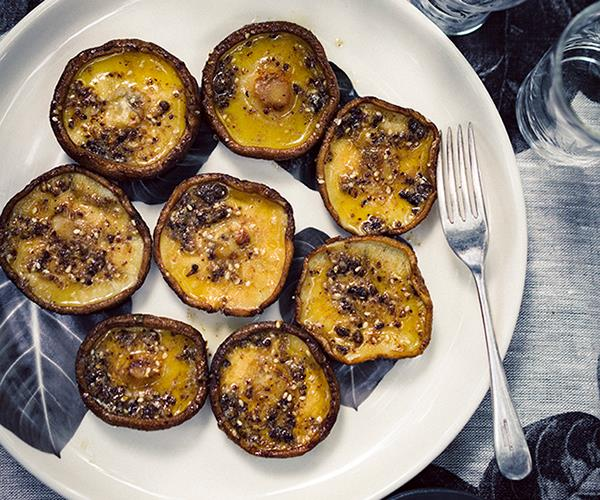 """**[Peter Gilmore's grilled shiitake mushrooms with umami butter](http://www.gourmettraveller.com.au/recipes/chefs-recipes/peter-gilmores-grilled-shiitake-mushrooms-with-umami-butter-8438