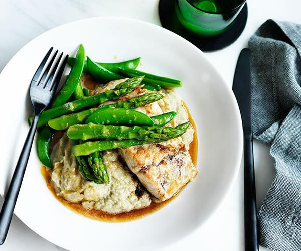 """[**Pan-fried barramundi with eggplant and miso purée**](https://www.gourmettraveller.com.au/recipes/fast-recipes/pan-fried-barramundi-with-eggplant-and-miso-puree-13635