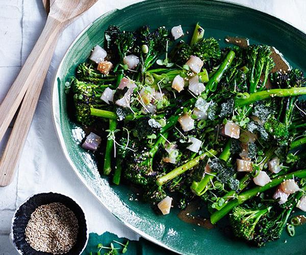 """[**Charred broccolini with kingfish, miso and sesame**](https://www.gourmettraveller.com.au/recipes/browse-all/charred-broccolini-with-kingfish-miso-and-sesame-12338