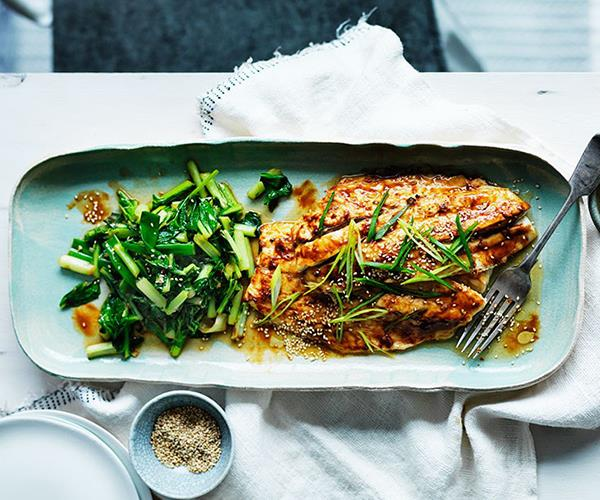 """[**Miso roast mulloway with sesame and sautéed greens**](https://www.gourmettraveller.com.au/recipes/fast-recipes/miso-roast-mulloway-with-sesame-and-sauteed-greens-13571