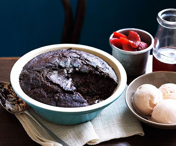 "[**Self-saucing chocolate and sherry pudding with quince and sherry ice-cream**](https://www.gourmettraveller.com.au/recipes/browse-all/self-saucing-chocolate-and-sherry-pudding-with-quince-and-quince-and-sherry-ice-cream-10686|target=""_blank"")"