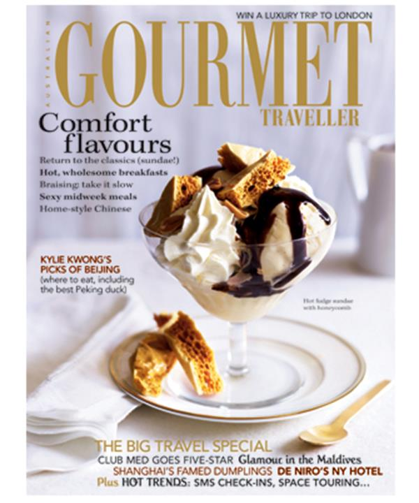 The Lotus hot fudge sundae on the cover of Gourmet Traveller's August 2008 issue