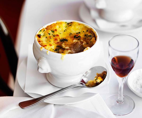 "**[Onion soup gratinée](https://www.gourmettraveller.com.au/recipes/browse-all/onion-soup-gratinee-11359|target=""_blank"")**"