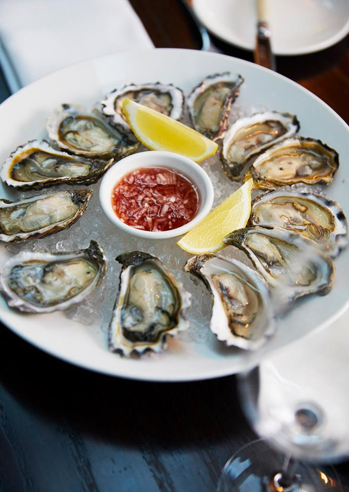 Freshly shucked Sydney rock oysters — Brahimi's favourite dish — at Bistro Guillaume Melbourne