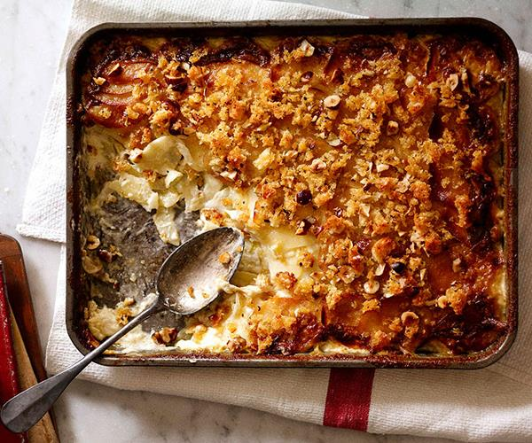 "**[Potato, witlof and Münster gratin](https://www.gourmettraveller.com.au/recipes/browse-all/potato-witlof-and-muenster-gratin-10450|target=""_blank"")**"