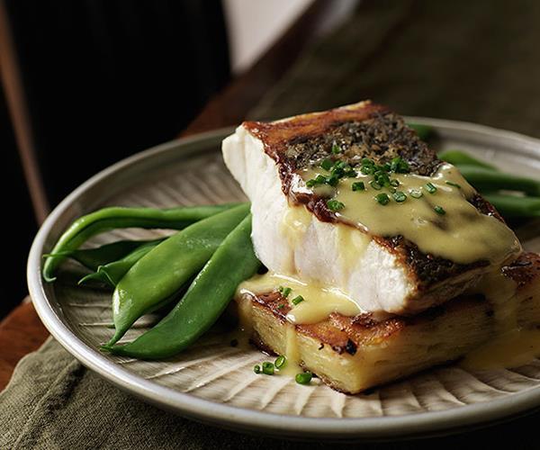"**[Pan-fried mulloway with potato gratin and leek sauce](https://www.gourmettraveller.com.au/recipes/chefs-recipes/pan-fried-mulloway-with-potato-gratin-and-leek-sauce-7142 target=""_blank"")**"