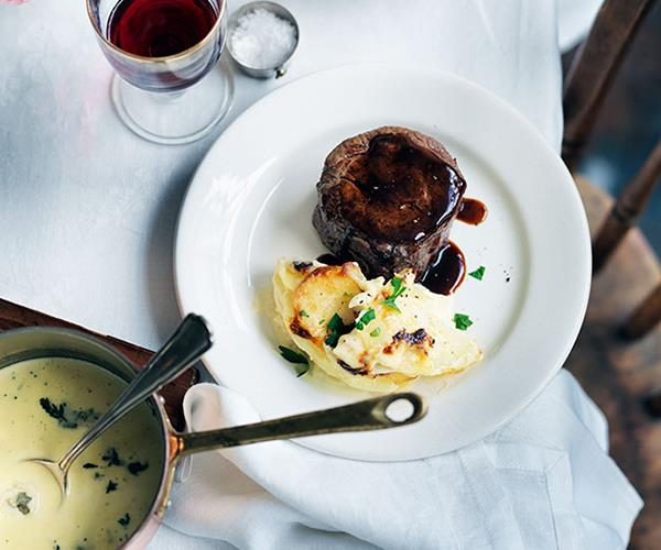 "**[Pavé de boeuf with Roquefort sauce and gratin dauphinoise](https://www.gourmettraveller.com.au/recipes/chefs-recipes/pave-de-boeuf-with-roquefort-sauce-and-gratin-dauphinoise-7927|target=""_blank"")**"