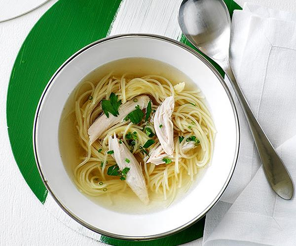 """[**Classic chicken noodle soup**](https://www.gourmettraveller.com.au/recipes/browse-all/chicken-noodle-soup-9617