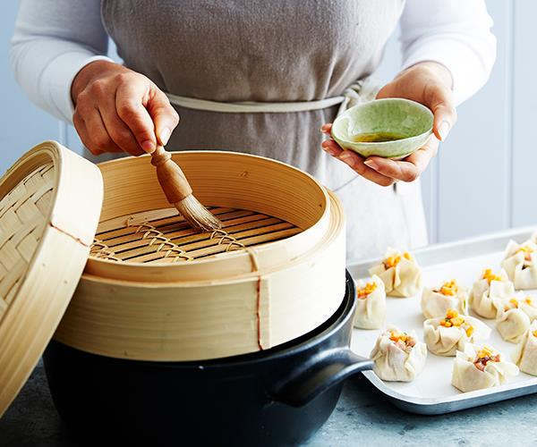 Tip 4: Line your bamboo steamer with non-stick paper, or brush with oil.