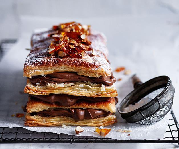 "**[Chocolate and almond millefeuille](https://www.gourmettraveller.com.au/recipes/browse-all/chocolate-and-almond-millefeuille-13982|target=""_blank"")**"