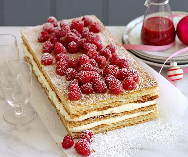 "**[Raspberry millefeuille](http://www.gourmettraveller.com.au/recipes/browse-all/raspberry-millefeuille-14203|target=""_blank"")**"