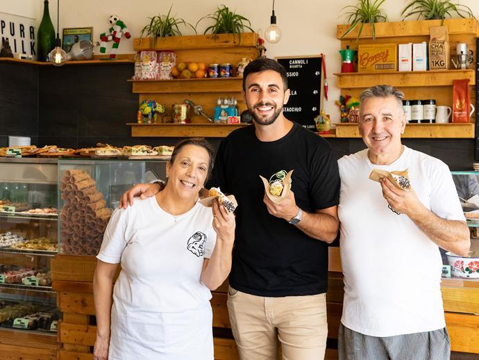 Vincenza, Carlo (centre) and Chille Mellini.