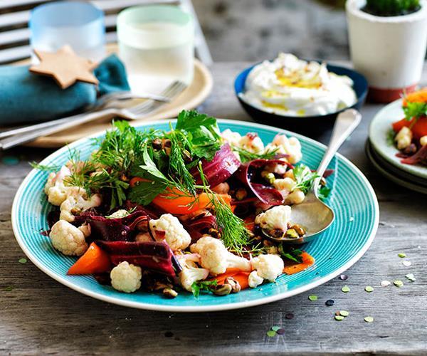 "**[Cauliflower salad with orange and cumin dressing, and buffalo yoghurt](http://www.gourmettraveller.com.au/recipes/browse-all/cauliflower-salad-with-orange-and-cumin-dressing-and-buffalo-yoghurt-11822|target=""_blank"")**"