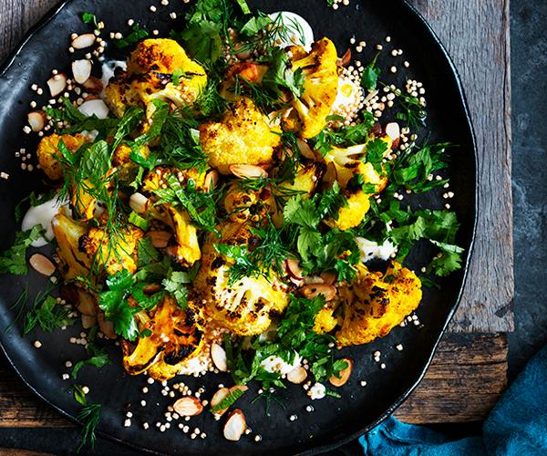 Roasted cauliflower salad with yoghurt dressing and almonds