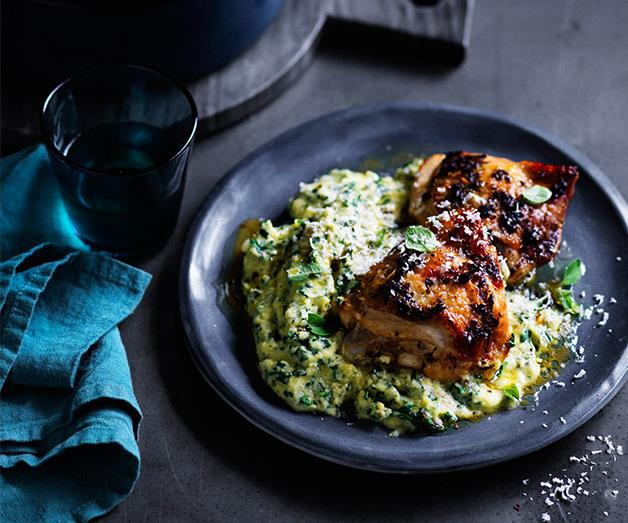 "**[Roast chicken thighs with green polenta](http://www.gourmettraveller.com.au/recipes/fast-recipes/roast-chicken-thighs-with-green-polenta-13816|target=""_blank"")**"