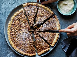 Walnut, whiskey and salted caramel pie