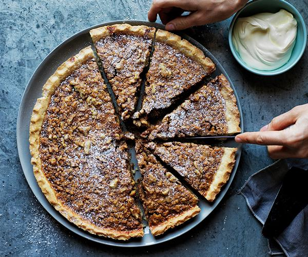 "**[Walnut, whiskey and salted caramel pie](https://www.gourmettraveller.com.au/recipes/browse-all/walnut-whiskey-and-salted-caramel-pie-12540|target=""_blank"")**"