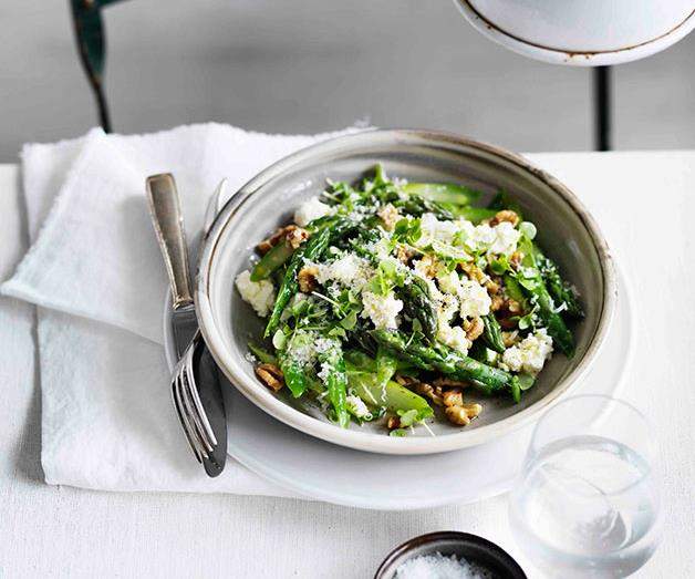 "**[Warm asparagus salad with walnuts, Parmesan, lemon and olive oil](https://www.gourmettraveller.com.au/recipes/browse-all/warm-asparagus-salad-with-walnuts-parmesan-lemon-and-olive-oil-11612|target=""_blank"")**"