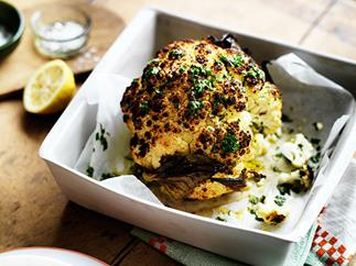 Alice Waters's whole roasted cauliflower with parsley and anchovy sauce