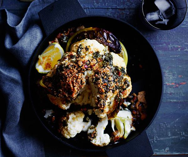 "**[Roasted whole cauliflower with wakame butter and toasted crumbs](https://www.gourmettraveller.com.au/recipes/browse-all/roasted-whole-cauliflower-with-wakame-butter-and-toasted-crumbs-12245|target=""_blank"")**"