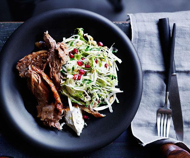 "[**Slow-roasted lamb shoulder with Brussels sprout slaw**](https://www.gourmettraveller.com.au/recipes/browse-all/slow-roasted-lamb-shoulder-with-brussels-sprout-slaw-12237|target=""_blank"")"
