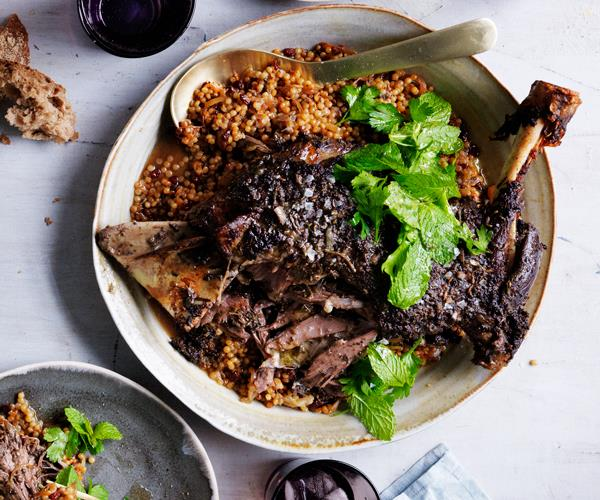 Eight-hour lamb shoulder with Israeli couscous and labne