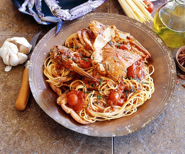 "**[Spaghetti with crab and tomato](https://www.gourmettraveller.com.au/recipes/fast-recipes/spaghetti-and-crab-9449|target=""_blank"")**"