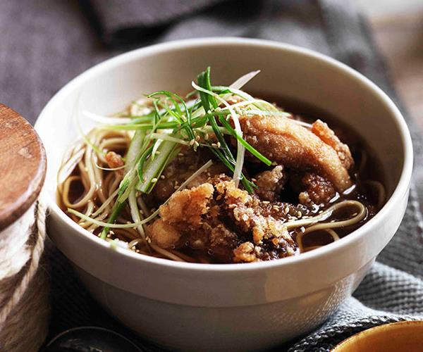 """**[Chicken noodle soup and golden fried chicken](https://www.gourmettraveller.com.au/recipes/browse-all/chicken-noodle-soup-and-golden-fried-chicken-11310