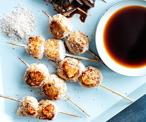 "**[Chicken tsukune](http://www.gourmettraveller.com.au/recipes/browse-all/chicken-tsukune-11765|target=""_blank"")**"