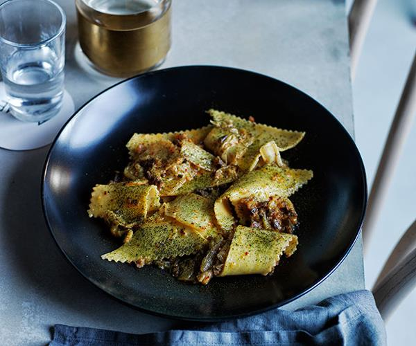 """**[Acme's maltagliati with washed kimchi and guanciale](https://www.gourmettraveller.com.au/recipes/chefs-recipes/maltagliati-with-washed-kimchi-and-guanciale-8321