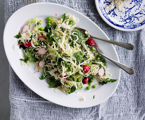"**[Karen Martini's cabbage, pea, mint, chilli and parmesan salad](https://www.gourmettraveller.com.au/recipes/chefs-recipes/cabbage-pea-mint-chilli-and-parmesan-salad-8950|target=""_blank"")**"