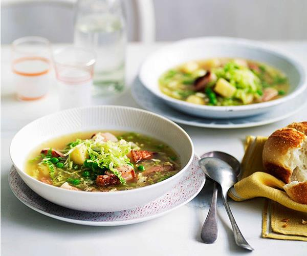"[**Speck, cabbage and pea soup**](https://www.gourmettraveller.com.au/recipes/fast-recipes/speck-cabbage-and-pea-soup-13218|target=""_blank"")"