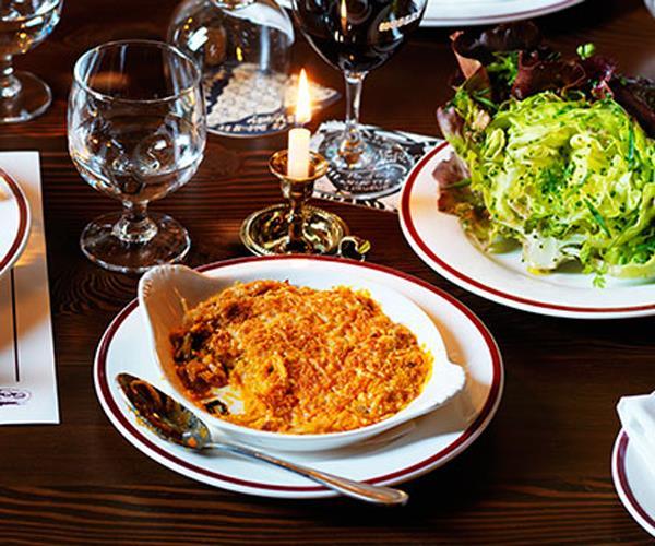 "**[Restaurant Hubert's kimchi gratin](https://www.gourmettraveller.com.au/recipes/chefs-recipes/kimchi-gratin-8414|target=""_blank"")**"