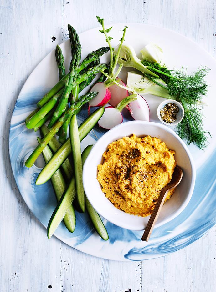 """**[Carrot and almond hummus](https://www.gourmettraveller.com.au/recipes/fast-recipes/carrot-and-almond-hummus-13788 target=""""_blank"""")**"""