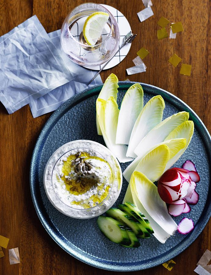 "**[Sunflower-seed dip with crudités](https://www.gourmettraveller.com.au/recipes/browse-all/sunflower-seed-dip-with-crudites-12638|target=""_blank"")**"