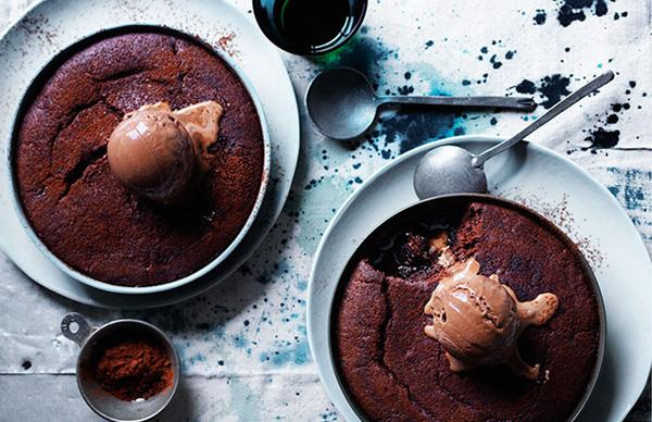 Stout and chocolate puddings with chocolate malt ice-cream