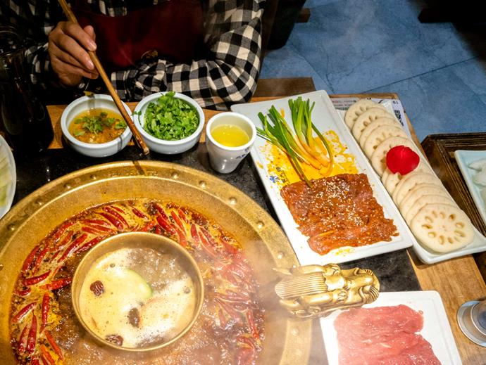 Traditional Chengdu hotpot. Chengdu hotpot is a traditional and popular local gourmet, with rich seasonings and spicy flavour. Photo: Getty Images