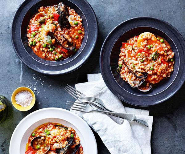 "**[Stefano Manfredi's orzo alla marinara (seafood and barley stew)](https://www.gourmettraveller.com.au/recipes/chefs-recipes/orzo-alla-marinara-seafood-and-barley-stew-7729|target=""_blank"")**"