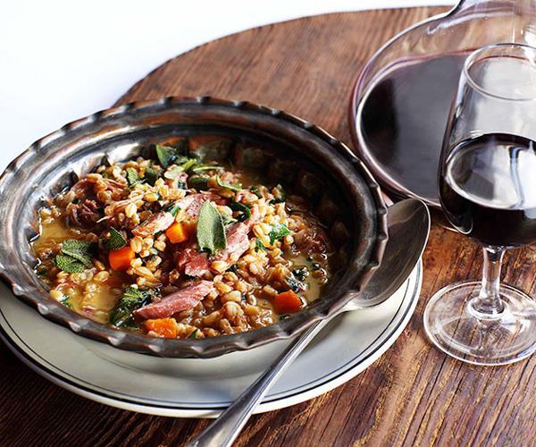 "**[Colin Fassnidge's smoked ham hock barley ragoût](https://www.gourmettraveller.com.au/recipes/chefs-recipes/smoked-ham-hock-barley-ragout-7550|target=""_blank"")**"