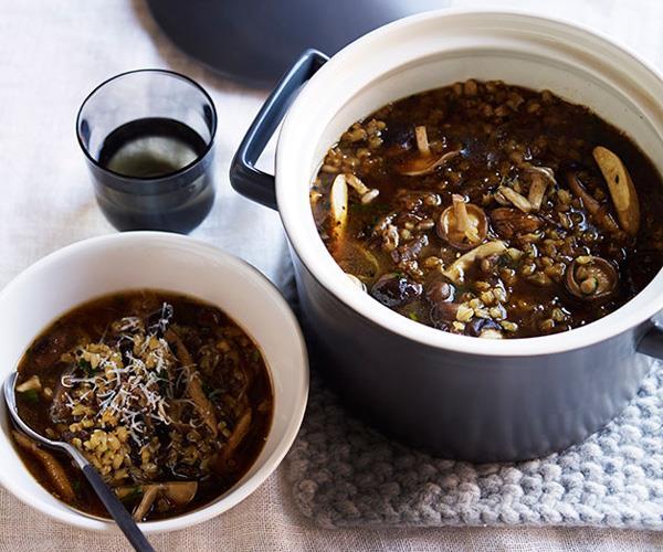 "**[Barley, mushroom and beef broth](http://www.gourmettraveller.com.au/recipes/browse-all/barley-mushroom-and-beef-broth-12293|target=""_blank"")**"