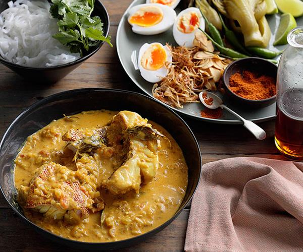 """**[Burmese-style fish curry with noodles, mustard greens and duck eggs](https://www.gourmettraveller.com.au/recipes/browse-all/burmese-style-fish-curry-with-noodles-mustard-greens-and-duck-eggs-10804