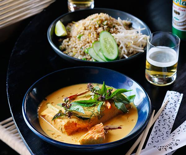 """**[EP & LP's turmeric and coconut salmon curry](https://www.gourmettraveller.com.au/recipes/chefs-recipes/turmeric-and-coconut-salmon-curry-8344