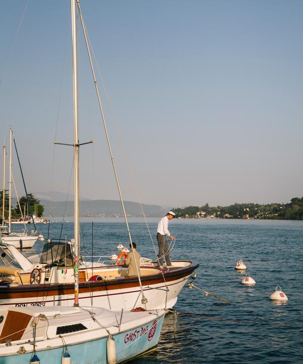 The marina at  Salò, on the western shore  of Lake Garda.